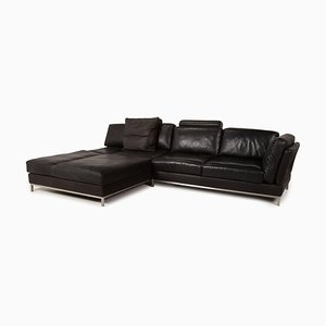 Black Leather Semino Sofa from Contour