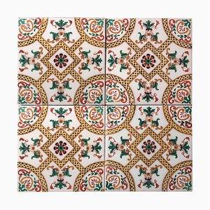 Antike Keramikfliesen mit Fisch von Onda, Spanien, 1900er, Set aus 34er