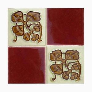 Antike Relief Keramikfliese von Gilliot Frères, Hemiksem