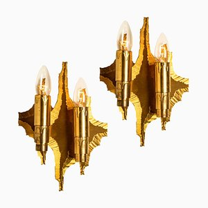 Mid-Century Brass Wall Sconces, 1970, Set of 2