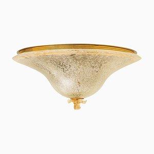 Deckenleuchte aus klarem und goldbraunem Murano Glas von Barovier & Toso, Italien