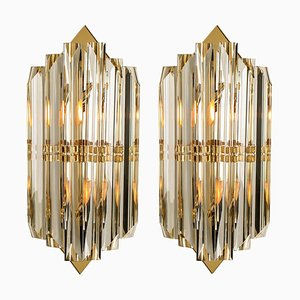 Murano Glass and Gilt Brass Sconces in the Style of Venini, Italy, Set of 2