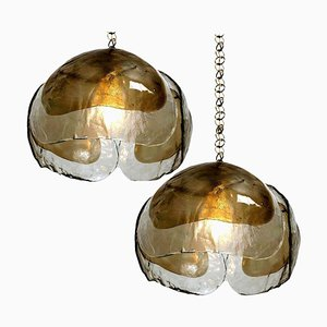 Smoked Glass and Brass Pendant Lamps in the Style of Kalmar, 1970s, Set of 2