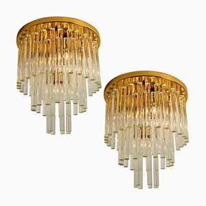 Chandelier or Flush Mount in Brass and Crystal from Palme, 1960s