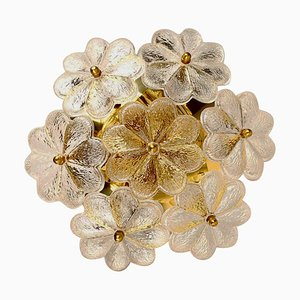 Glass and Brass Floral Wall Light from Ernst Palme, 1970s