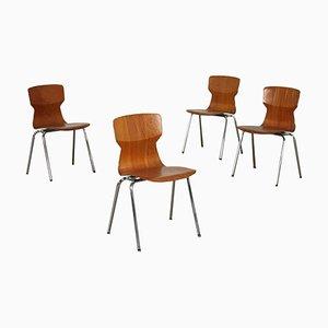 Stühle aus Sperrholz & verchromtem Metall, Holland, 1960er oder 1970er, 4er Set