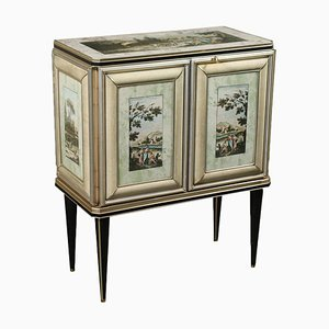 Cabinet in Mascagni Wood, Leatherette, Glass & Brass-Plated Aluminium, Italy, 1950s
