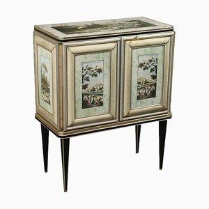 Mobiletto in legno Mascagni, in ecopelle, vetro e ottone, Italia, anni '50