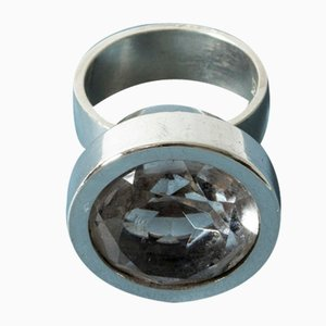 Silver and Rock Crystal Ring by Elis Kauppi