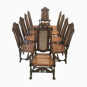Antique Carolean Style Carved Oak Chairs, Set of 10