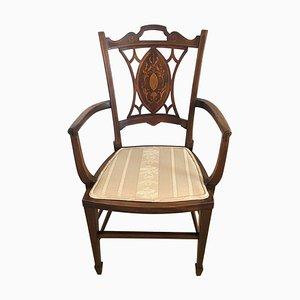 Small Antique Edwardian Inlaid Mahogany Armchair