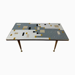 Mid-Century Glass Mosaic Coffee Table in Black, White, Grey & Gold