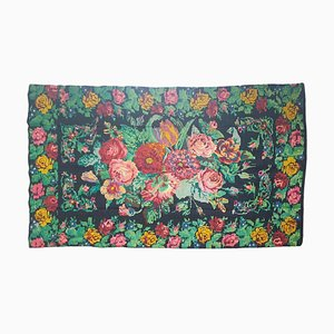 Handmade Romanian Floral Rug in Wool with Rose Design