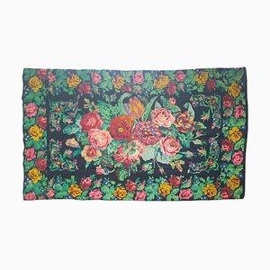 Tapis Floral Roumain Fait à la Main en Laine avec Motif Rose