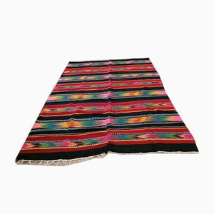 Vintage Handmade Romanian Striped Rug in Wool