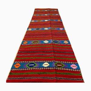 Long Vintage Handmade Romanian Runner Rug in Red Wool with Geometric Design