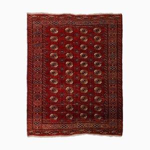 Tapis Vintage Géométrique Turkmène Rouge Rouillé avec Bordure et Diamants