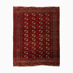 Vintage Geometric Turkmen Carpet in Rusty Red with Border and Diamonds
