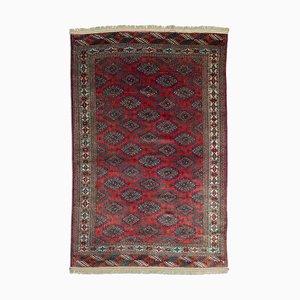 Vintage Geometric Tekke Carpet in Dark Red with Border and Diamonds