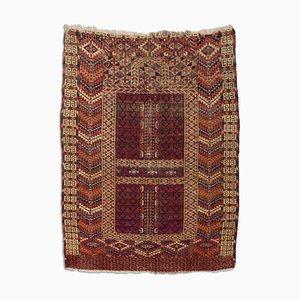 Vintage Geometric Caucasian Rug in Dark Red with Border