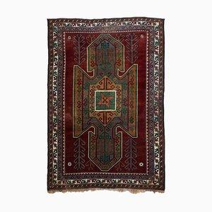 Tapis Géométrique Vintage Rouge Rouillé avec Bordure et Médaillon, Turquie