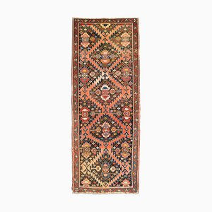 Vintage Geometric Gharabagh Runner Rug in Dusky Pink with Border and Diamonds