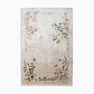 Chinese Floral Rug in Cream White Pure Silk