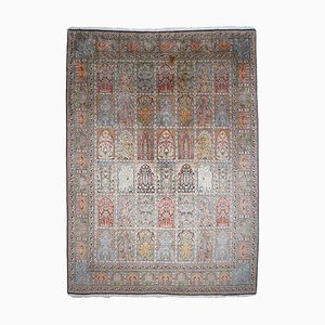 Floral Mercerized Cotton Kashmir Carpet in White & Light Blue with Border and Field Pattern