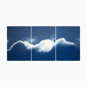 Großes Triptychon in Wolken-Optik, Cyanotypie Druck, 2021
