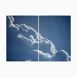 Diptych aus schwebenden Wolken, Cyanotypie Druck, 2021
