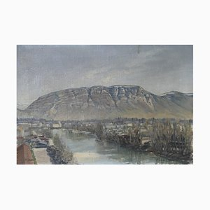 R. Liegaut, Vue sur le Salève et l'Arve, Geneva Landscape Painting, 1926