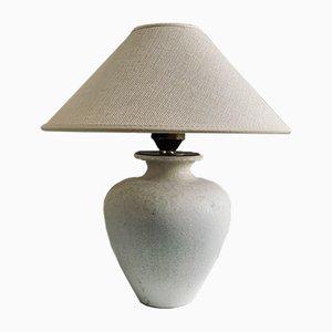 Weiße Steingut Tischlampe von Gunnar Nylund