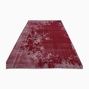 Handgeknüpfter türkischer Vintage Oushak Area Teppich aus roter Wolle