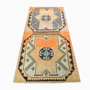 Vintage Handmade Turkish Oushak Area Rug in Orange Wool, Anatolia