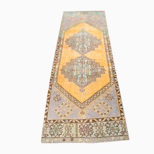 Vintage Handmade Turkish Oushak Runner Rug in Yellow Wool, Anatolia