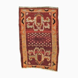 Tibetan Orange & Red Kaden Meditation Rug, 1950s