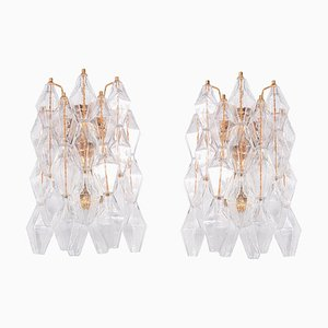 Murano Glass & Gold Plated Poliedri Sconces by Carlo Scarpa, Set of 2