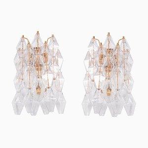 Poliedri Murano Glas & Vergoldete Wandlampen von Carlo Scarpa, 2er Set