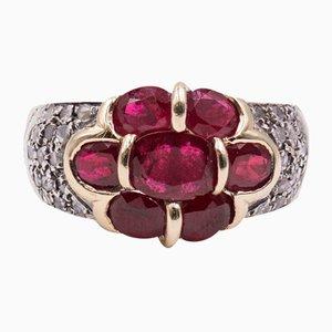 Vintage Ring aus 14 Karat Gold mit Rubinen & Diamanten, 1980er