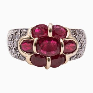 Vintage Ring in 14K Gold with Rubies and Diamonds, 1980s