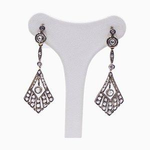 Art Deco Ohrringe aus 18 Karat Gold und Silber mit Diamanten im Rosenschliff, 1930er