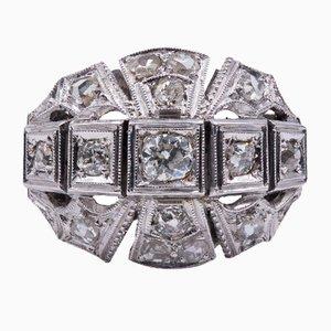 Art Deco Ring aus 18 Karat Gold mit 0,60 Karat Altschliff Diamanten und Rosetten, 1930er