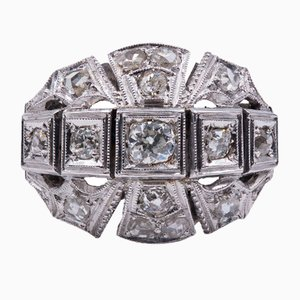 Art Deco Ring in 18K Gold with 0.60K Old Cut Diamonds and Rosettes, 1930s