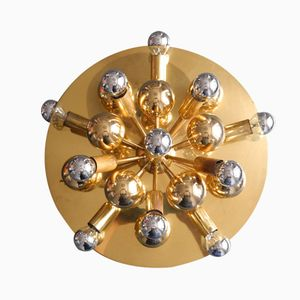Large Brass Sputnik Ceiling or Wall Lamp from Cosack, 1970s