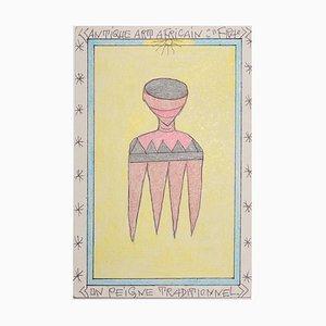 """Frédéric Bruly, Bouabré Antique art Africain """"fra""""/ un Peigne Traditionnel, 2007"""