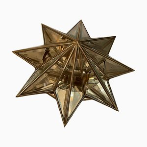 Star-Shaped Brass & Cut Glass Flush Mount, 1960s