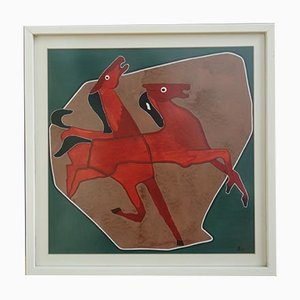 Horses Painting in Red and Green, 1963