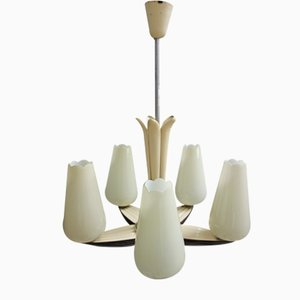 Art Deco Hängelampe mit 5 Glasschirmen