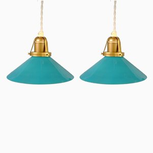 Small Turquoise Shoemaker's Lamps, 1970s, Set of 2