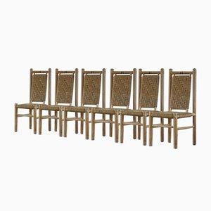 Französischer gewebter Mid-Century Sessel aus massiver Ulme von Pierre Chapo, 1960er, 6er Set
